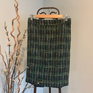 Ann Taylor Tweed Skirt Navy Teal Yellow Mix Size 0